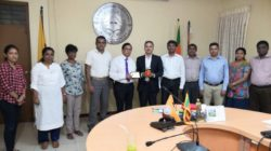 Prof. M. Sunil Shantha, Vice Chancellor of Sabaragamuwa University (fifth from left) with deans and department heads